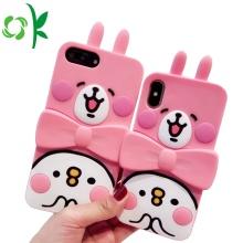 Protetor bonito cor-de-rosa do telefone do silicone do coelho com suporte