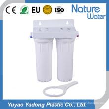 Filtro de agua de carcasa blanca de doble etapa con bajo nivel de profundidad