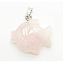 fish Shape Rose Quartz pendant