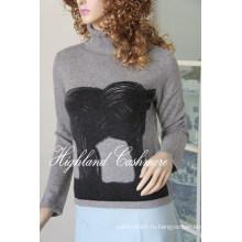Дамы Черепаха шеи пуловер с Печатанием Cprp1106L