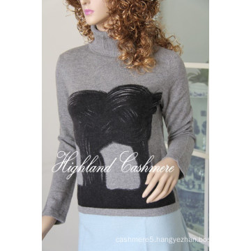 Ladies Turtle Neck Pullover with Printing Cprp1106L