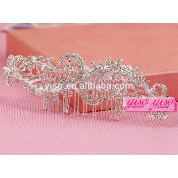 Meilleure vente bijoux à cheveux bijoux en cristal nuptiale tiara couronne peigne