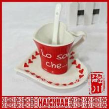 Керамическая чаша в форме сердца и блюдце, форма чашки кофе в форме сердца
