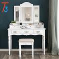 Juego de mesa de tocador, tríptico plegable gancho espejo organizadores 6 maquillaje tocador con cajones taburete acolchado