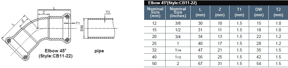 9 elbow 45degree