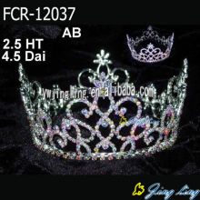 venta al por mayor AB Rhinestone Full Round Pageant Crowns
