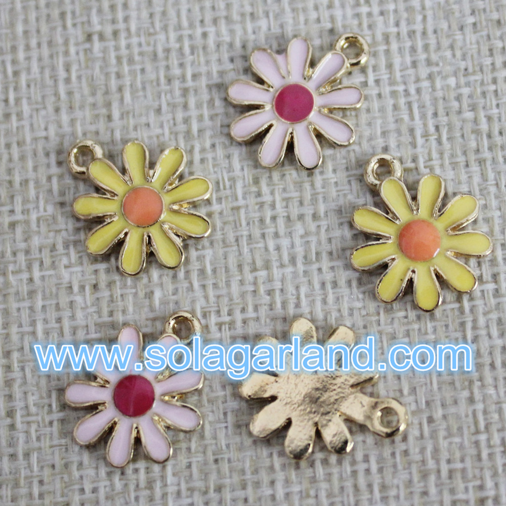 Oil Driping Flower Metal Pendants