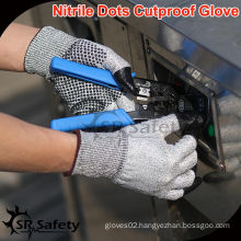 SRSAFETY 13 Gauge Knitted Nitrile Dotted Cut Gloves