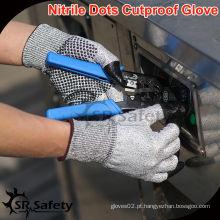 SRSAFETY 13 Gauge Knit Nitrile Dotted Cut Gloves