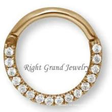 Anillos de nariz de tabique de 16G nariz del indio plateado oro anillo diamante