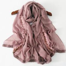 Alta calidad fashin nuevo diseño largo chal ancho 205 * 75 cm 50% algodón impreso musulmán turbante bufanda hijab