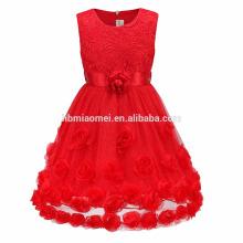 Enfants Vêtements Fleurs Rouges Avec Sash Dentelle Appliqued En Mousseline de Soie 3 Couches Sans Manches Bébé Fille Robe De Fête