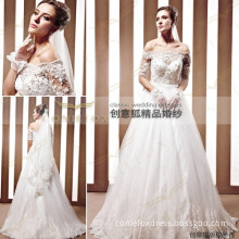 elegant long wedding dresses,off shoulder appliqued wedding dresses 90065