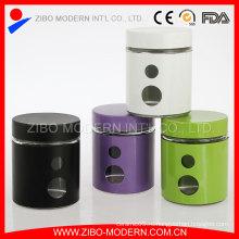Стеклянные банки с покрытием из нержавеющей стали для пищевой и стеклянной банки для печенья