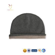Chapéus e tampões pretos do Beanie de lãs da caxemira para homens