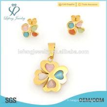 Fashion style photo locket & trèfle boucles d'oreille bijoux en gros
