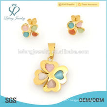 Fashion style photo locket & clover earring jewelry set wholesale