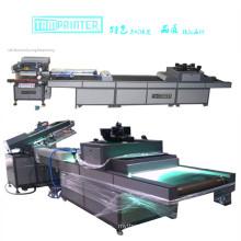 Impressora de tela automática com linha de processo de máquina de cura UV