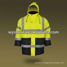 Veste d'avertissement imperméable à l'eau imperméable à l'eau Veste de protection réfléchissante