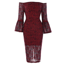 Kate Kasin Womens Sexy Lantern Sleeve Off the shoulder Wine Red Lace Dress KK001049-1