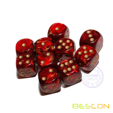 Pearlized 6 Sided Dice with Golden Dots