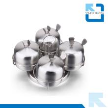 4 piezas 201 de acero inoxidable de rotación de azúcar sal pimienta Condiment Spice Jar