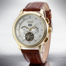 Tourbillon Leather Strap Skeleton Mens Sport Relógios