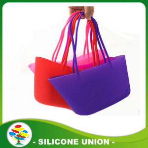 Silicone rubber foldable straw beach bag