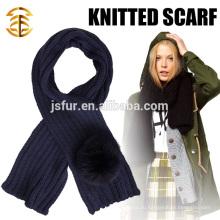 2015 Новый продукт Мода и теплый зимний шарф Оптовая Fox Fur Pom Pom Crochet Scarf