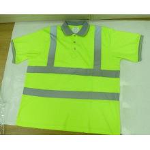 High Visibility Reflective Polo Shirt with Grey Rib Collar