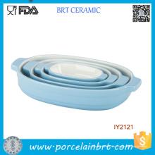 4pcs venda quente azul conjunto de panelas de utensílios de mesa cerâmicos
