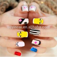 Сказочный яркий Японский стиль ногтей татуировки для молодых женщин