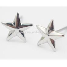 Pendientes de plata de cinco puntas con forma de estrella de acero inoxidable