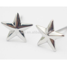 Silver Five-Pointed Star Stud Earrings Stainless Steel