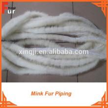 Garniture de fourrure de vison blanc naturel de haute qualité