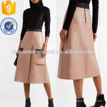 Двухцветная кожаная юбка Производство Оптовая продажа женской одежды (TA3028S)