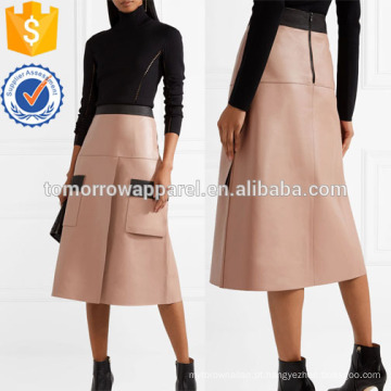 Dois tons couro saia manufatura atacado moda feminina vestuário (ta3028s)