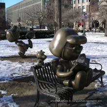 extérieur jardin décoration métal artisanat bronze snoopy sculpture
