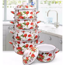new product 2016 enamel straitpot /soup pot with full decal