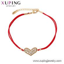 75536 Xuping venta caliente chapado en oro Elegante cuerda roja forma de corazón pulsera de moda para las mujeres