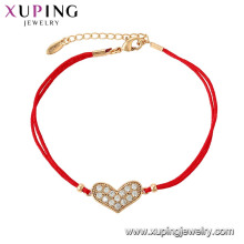 75536 Xuping Hot sale gold plated Elegant red rope heart shape fashion Bracelet for women