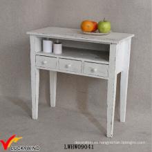 3 cajones Shabby Wood consola de mesa blanco