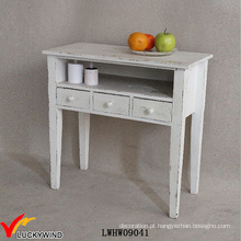 3 Gavetas Shabby Wood Console Table Branco