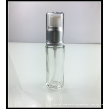 Clear 30ml Empty Slim Glass Cosmetic Lotion Bottle with Pump