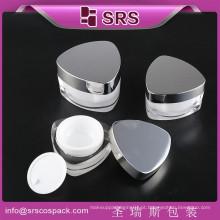 SRS China fabricante venda quente triângulo forma cute plástico cosméticos frasco vazio, embalagem de creme acrílico com tampa de rosca brilhante