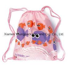 Meninas baratos promocionais baratos à prova d'água Nylon Kids Drawstring Backpack Bag