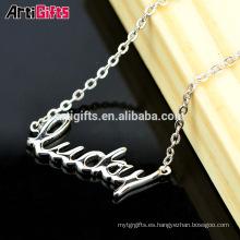 Elegante collar diseño personalizado logotipo letra colgante carta collar