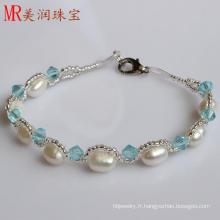 100% véritable bijoux bracelet en perle d'eau douce pour cadeau de Noël