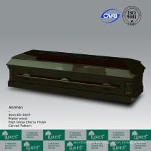 Fabrica de lujo chino americano estilo sólido madera ataúd ataúd para Funeral_China ataúd