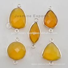 925 Sterling Silber Gelbe Chalcedon Lünette Connectors für Damen Schmuck